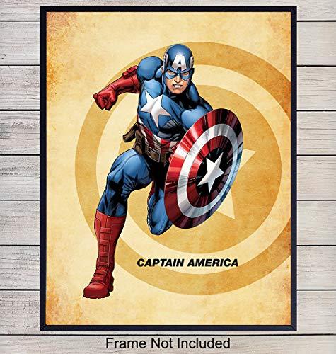 Captain America Superhero Wall Art Print - Home Decor for Boys, Kids Room or Den - Great Gift for Superman, Batman, Spiderman, Iron Man, Wolverine, Marvel, DC Comic Books Fans- 8x10 photo - Unframed (Marvel Wolverine Pictures)
