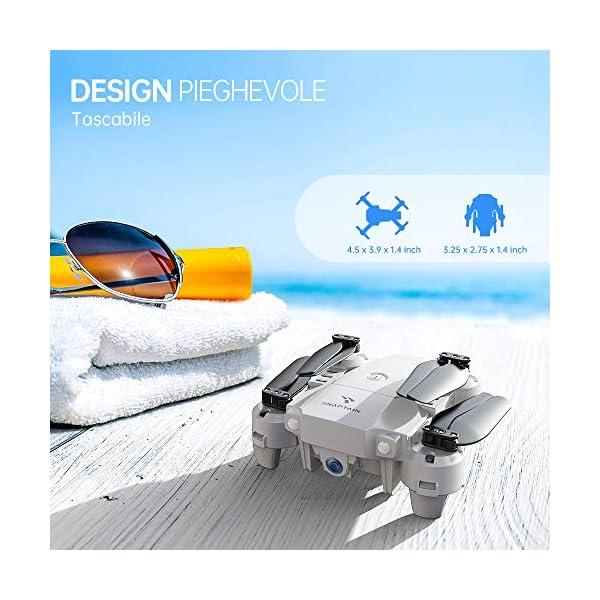 SNAPTAIN A10 720P Mini Drone con Telecamera HD Pieghevole FPV Controllo Vocale, Controllo Gesti, Volo Traiettoria, Volo Circolare, Rotazione ad Alta velocità, 3D Filp, Sensore G, modalità Senza Testa 2 spesavip