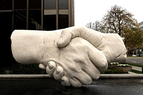 Vintography 24 x 36 Giclee Print of This Sculpture of Shaking Hands Near The Capitol Mall is one of Sacramento California's Most Popular Pieces of Outdoor Art r30 2012 by Highsmith, Carol M. ()
