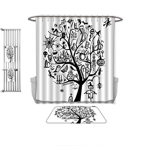 QINYAN-Home 4-Piece Bathroom Set-Halloween Decorations Sketch Style Halloween Tree with Spooky Decor Objects and Wicked Witch on B Black White, 1-Shower Curtain,1-Mats 1-Bath Towel-Multiple -