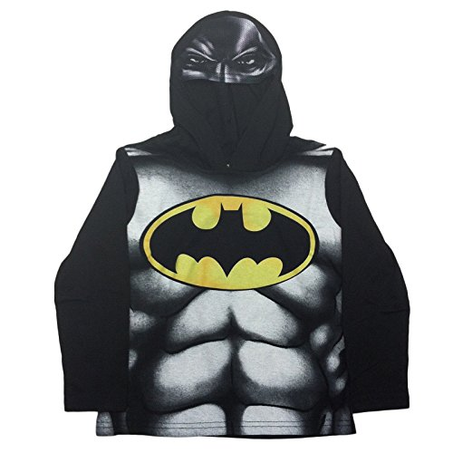 DC Marvel Comic Hoodie Boys Batman Hulk Ironman Superman with Mesh Mask (5T, (5t Batman Costumes)