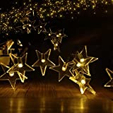ParaCity Outdoor Solar Lights 16 ft 20 LED Lamps Holiday Christmas Party Garlands Solar Garden Waterproof Lights (Warm White Star)