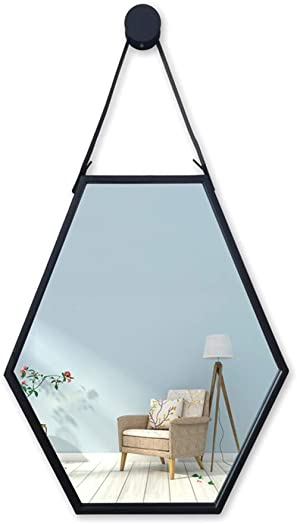 JZ008 Wall Mirror Wall Hanging Metal Bathroom Mirrors with Faux Leather Hanging Strap Wall-Mounted Vanity Mirrors Hexagon Iron Wall Hanging Mirror Make-up Cosmetic,Gold Creative Fashion Modern