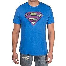 Superman - Distressed Men's T-Shirt, Royal Blue Mix