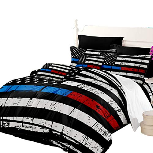 (Oliven Quilt Cover Queen Size American Flag Printed Duvet Cover Queen 3 PCS White Black Blue Red Bedding Set Home)