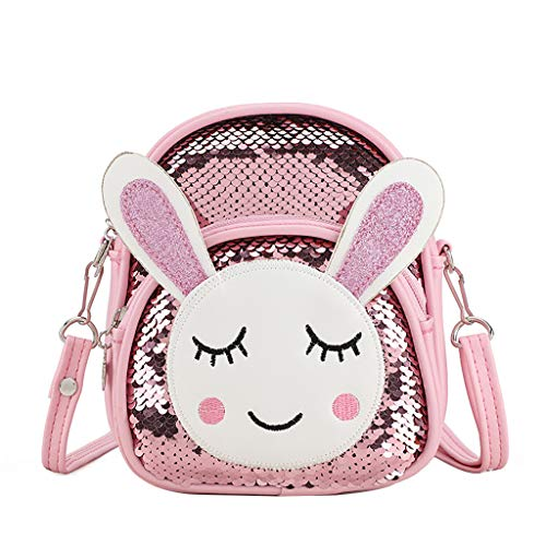 Tote Purse,Clutch Purses for Women,Women Simple Fashion Sequin Shoulder Bag Student Bag Backpack Pink