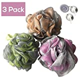 Image of Luxury Bath Pouf Soft Mesh Double Layer Set of 3 Pack Shower Puff Exfoliating / Cleansing Loofah Luffa Body pouf Mesh For Men / Women