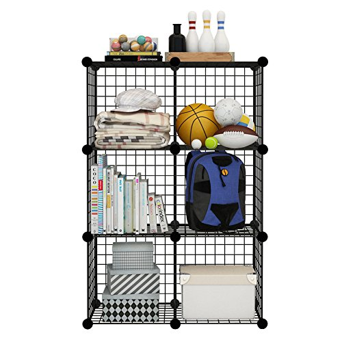 Wire Basket Shelving (6 Storage Cubes by COSYHOME, 6 Wire Grids Cube Closet Organizer Shelf Cabinet Bookcase)