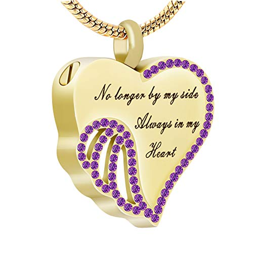 (UPSTONE Purple Crystal Cremation Jewelry for Ashes - Golden Cremation Jewelry for Dad Mom Urn Pendant Necklace for DOD Cat's Ashes Memorial Keepsake for Women Girl)