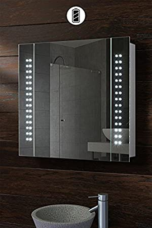 MY Furniture   BATTERY LED ILLUMINATED BATHROOM MIRROR CABINET / IP44    PHOTONIC