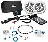 Boss ASK902B.6 4-Channel 500W Marine Amplifier W/Bluetooth+(2) Speakers+Amp Kit