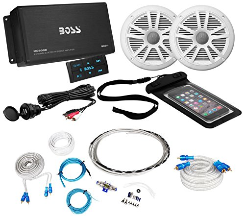 Boss ASK902B.6 4-Channel 500W Marine Amplifier W/Bluetooth+(2) Speakers+Amp Kit primary