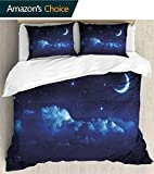 3 Piece Quilt Coverlet Bedspread Ultra Soft Printed 68'x 85',Bed cover modern style stitching quilt pattern bed cover set,Landscape Night Scenery with Stars and Moon and Grey Clouds with Beams Artwork