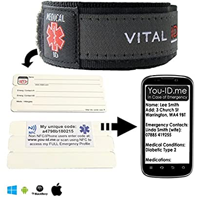 Electronic Medic Alert Bracelet Adult Men Ladies Works with Smartphones Emergency Wristband Holds ID Medical Conditions ALL MEDICATIONS ID Emergency Contacts amp Written Info Adjustable Estimated Price £24.99 -