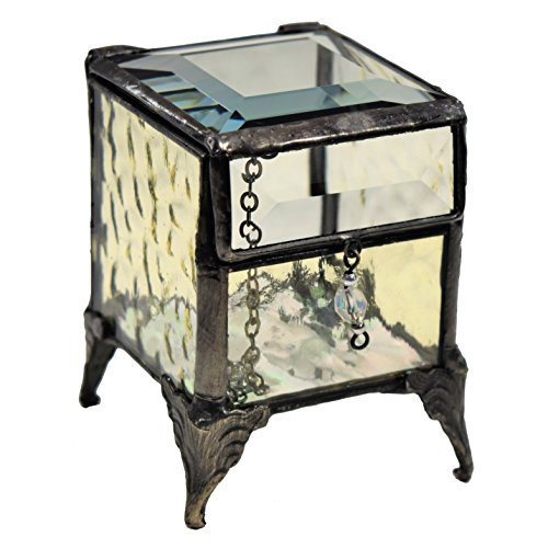 J Devlin Box 649-2 Stained Glass Pale Yellow Jewelry Keepsake Box -  J Devlin Glass Art