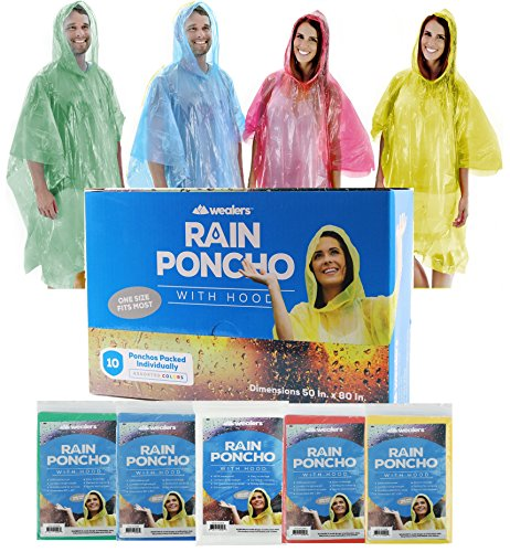 Wealers Poncho One Size Fit All with Hood 10 pieces in display box, 5 different colors 2 Red 2 Blue 2 White 2 Yellow 2 Green. Perfect to Keep in Emergency Kit, Backpack, Home, Office, Car, Pocket, In Case A (2 Piece Yellow Raincoat)