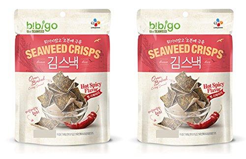 Korean CJ Bibigo Oven Baked Brown Rice and Seaweed Crisps 20g (Pack of 2) (Hot ()