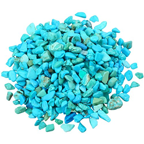 SUNYIK Howlite Turquoise Tumbled Chips Stone Crushed Pieces Irregular Shaped Stones 1pound(about 460 gram)