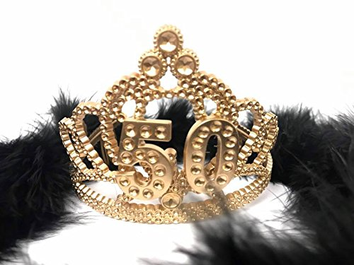 50th Birthday Princess Tiara Gold Crown with Black Feather Boa Party Princess Plastic (Feather Princess Tiara)