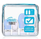 5 Pc Silicone Travel Bottles Set with Durable Bag by MyTravelTubes, TSA Approved (Blue Bag Clear Blue Tubes)