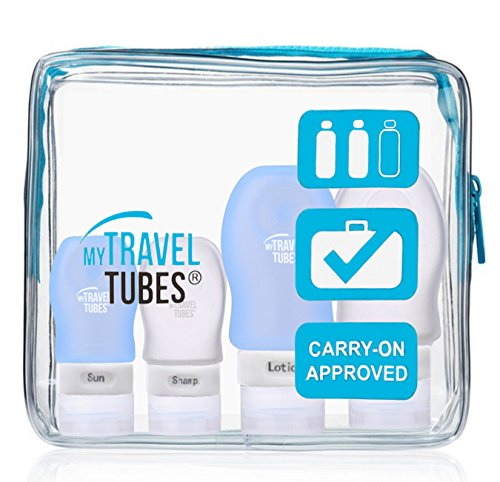 Price comparison product image 5 Pc Silicone Travel Bottles Set with Durable Bag by MyTravelTubes, TSA Approved (Blue Bag Clear Blue Tubes)