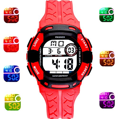 Kids Sport Outdoor Digital Waterproof 7-Color Flashing Light for Childrens Boys Girls Kids Gift Watch Age 4-12 (red)