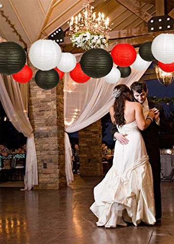 24pcs Round Paper Lanterns for Wedding Birthday Party Baby Showers Decoration Black/Red by Zilue (Image #2)