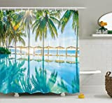 Landscape Shower Curtain by Ambesonne, Pool by the Beach with Seasonal Eden Hot Sunny Humid Coastal Bay Photography, Fabric Bathroom Decor Set with Hooks, 75 Inches Long, Green Blue