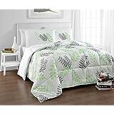 Cozy Beddings BH5022-Q Tropical Reversible Down Alternative Leaf Print Comforter Set, Queen, Green/White/Grey