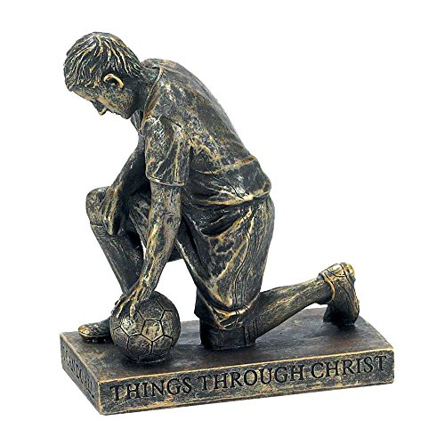 Soccer Boy Figurine - Through Christ Praying Soccer 5 inch Gray Resin Stone Table Top Figurine