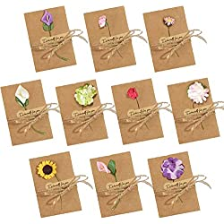 Dried Flowers Greeting Cards, 50PCS Handmade Greeting Cards Vintage Kraft Blank Note Card Thank Notes for Birthday Party Invitation Card