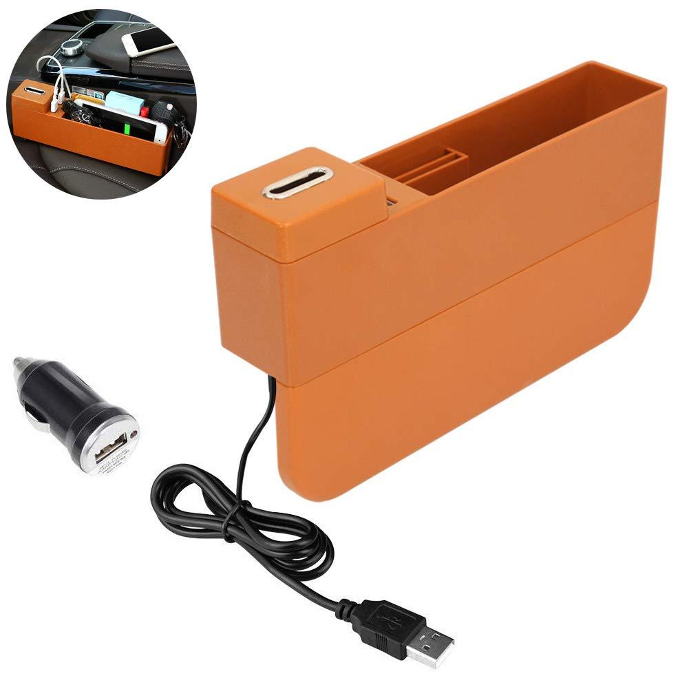 Autositz Seitentasche Konsole Organizer USB-Anschl/üsse Seat Gap Filler Autoinnenausstattung F/ür Handys Schl/üsselkarten Geldb/örsen M/ünzen Unisex ,Beige
