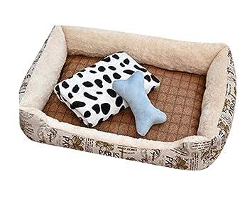 GUOCU Cama para Perro Lavable con Almohadas Sofá para Mascotas Lavable Rectangular Canasta de Mascotas Conjunto de Cuatro Piezas Beige Set XXL: Amazon.es: ...