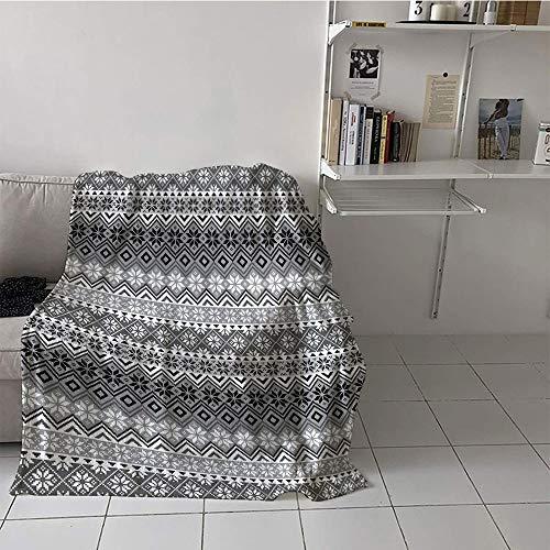 - Khaki home Children's Blanket Couch Plush Throw Blanket (35 by 60 Inch,Nordic,Knitting Theme Chevron Pixel Art Pattern Scandinavian Ornament Classic Motifs,Grey White Black