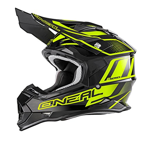 O'Neal 2Series RL MX Helm Manalishi Schwarz Neon Gelb Motocross Enduro Quad Cross ABS, 0200-02, Größe M (57/58 cm)