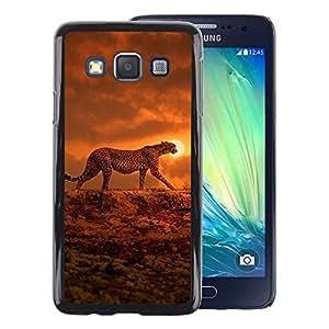 A-type Arte & diseño plástico duro Fundas Cover Cubre Hard Case Cover para Samsung Galaxy A3 (Ocelot Sunset Orange African Animal)