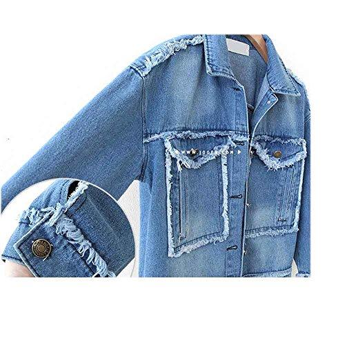 Sobrisah Ragazze Donne Sbiadito Giubbotto Lunga Lavare Fidanzato Denim Vintage Di 2xl Jeans Manica 1132 Leggera scuro Blu Xl Sml 4z4wqrx