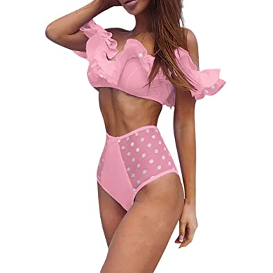 b2d5b10689 Amazon.com  Women Fashion Ruffles Bikini