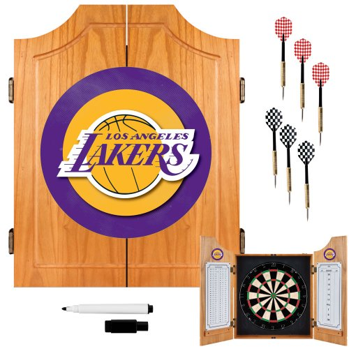NBA Los Angeles Lakers Wood Dart Cabinet Set by Trademark Gameroom