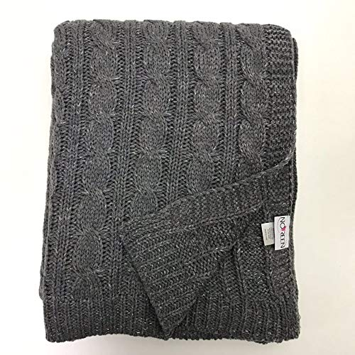 (NOREEN All Seasons Sweater Cable Twisted Knit Throw Blanket Multi Color for Couch Chairs Bed Beach End of Bed Home Decorative (Grey, 50