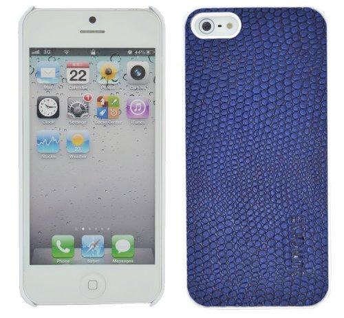 Suncase Ledercase für das  Apple iPhone 5 / 5S mit gratis Displayschutzfolie in echse-blau