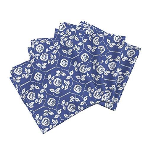 Vintage Rose Damask Linen Cotton Dinner Napkins Vintage Cottage Chic Decor Vintage Blue Rose Leaves Floral Cottage Chic Damask Flower by Kristopherk Set of 4 Dinner Napkins