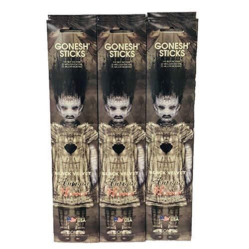 Gonesh Incense Sticks Antique Horror Black Velvet ()