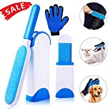Pet Fur and Lint Remover, Dee Banna Hair Remover Brush with Double Sided Self Cleaning Base, Dog Cat Fur Brush Animal Dust Removal Tool Suit 3 Sets Include Brushes and Gloves for Clothes, Furniture, Couch, Carpet, Car Seat
