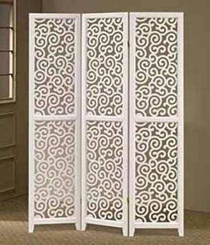 3 Panel White Swirl Design Screen Room Divider