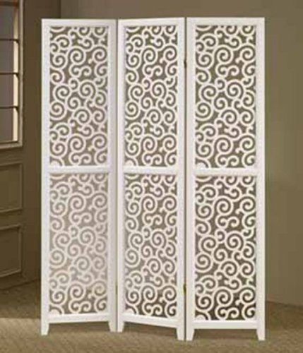3-Panel White Swirl Design Screen Room Divider by Asia Direct