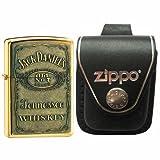 Zippo 254BJD428 Jack Daniel's Emblem High Polish Brass Windproof Lighter with Zippo Black Leather Loop Pouch