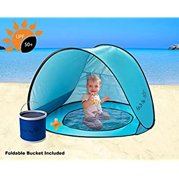 Baby Pop Up Tent by Fun In The Sun | Portable Baby Beach Tent with Shaded Pool And Foldable Water Bucket Set | 50+ UPF UV Protection. Perfect For Toddlers ...  sc 1 st  Amazon.com & Amazon.com: MonoBeach Baby Beach Tent Pop Up Portable Shade Pool ...