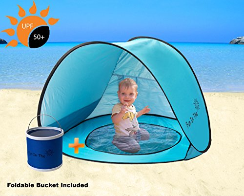 Baby Pop Up Tent by Fun In The Sun | Portable Baby Beach Tent with Shaded Pool And Foldable Water Bucket Set | 50+ UPF UV Protection. Perfect For Toddlers And Kids Under 3 Years