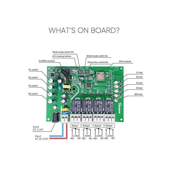 Sonoff 4CH Pro- Interruptor de enclavamiento para generador, Avance/Autobloqueo Interruptor inalámbrico WiFi & RF 90… 3 spesavip